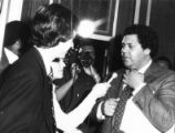 Mayor Maynard Jackson speaking with reporters after negotiations with AFSCME leaders, Atlanta,...