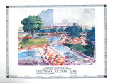 Photograph of architect's presentation drawing: Centennial Olympic Park, view from Centennial...