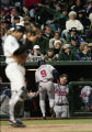 Atlanta Braves center fielder Marquis Grissom after hitting home run in Game 2 of National League...