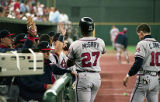 Atlanta Braves first baseman Fred McGriff after scoring a run in Game 1 of National League...