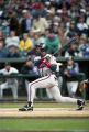 Atlanta Braves center fielder Marquis Grissom hitting home run in Game 2 of National League...