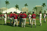 Atlanta Braves replacement players listening to coach during spring training, 1995