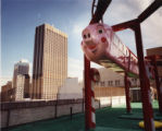 The Pink Pig ride on the roof of Rich's, 1990