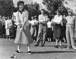 Louise Suggs teeing off at the Athens Country Club tournament, 1949