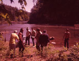"Burt Reynolds and crew on the set of ""Deliverance,"" 1971"