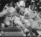 Georgia Bulldogs gang-tackle a Texas Longhorn Ronnie Robinson during the Cotton Bowl, 1984