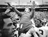 Georgia Bulldogs coach Vince Dooley celebrates winning the Cotton Bowl, 1984
