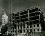 State Judicial Building under construction; Capitol Building in background, Atlanta, Georgia,...