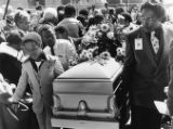 Funeral service for Curtis Walker surrounded by news crews, 1981