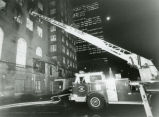 Firemen with ladders at Georgian Terrace Hotel fire, Atlanta, Georgia, October 27, 1988.