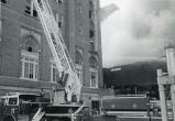 Firemen with ladders at Georgian Terrace Hotel fire, Atlanta, Georgia, August 30, 1987.