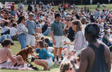 Crowds of people enjoying the weather, during the annual Dogwood Festival, Piedmont Park, Atlanta,...