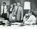 DeKalb County Commission CEO Manuel Maloof (seated), in his office with DeKalb County Sheriff Pat...