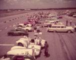 Pit area at a racetrack, 1957