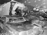 Thiokol Chemical plant explosion, workers' cars destroyed, 1971