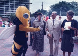 Georgia Tech's mascot Buzz greets I.O.C. members during a tour of the facilities, 1989