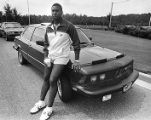 Falcons' Gerald Riggs celebrates his new contract with a new BMW, 1982