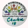 20th WomonWrites 1979-1998 Southeast Lesbian Writers Conference [button]