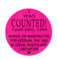 March on Washington for Lesbian, Gay, and Bi Equal Rights and Liberation [button], 1993