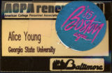 American College Personnel Assocation 1984 Convention [name tag], 1984