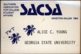 Southern Association for College Student Affairs 1984 Convention [name tag], 1984