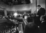 Robert Shaw speaking to the audience after the first concert at the Atlanta Civic Center, 1968