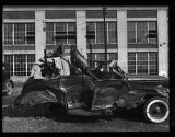 T-boned 1937 Ford convertible, at Frost Cotton Motors, Atlanta, Georgia, circa late 1930s or early...