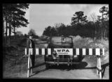 A roadblock outside a Works Progress Administration project, Southern States, circa late 1930s