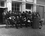 Elmo Ellis giving a speech at Atlanta University