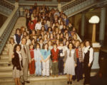 Governor George Busbee and Cathey Steinberg with a large group of school children on the stairs of...