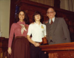 Cathey Steinberg and Thomas Murphy with a page, state capitol, Atlanta, Georgia, circa late 1970s.