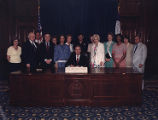 Georgia Network Against Domestic Violence, photograph of Governor Joe Frank Harris signing...