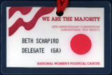 National Women's Political Caucus, 10th Anniversary Convention [name badge], circa 1990s