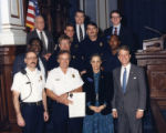 State Senator Cathey Steinberg and Lieutenant Governor Pierre Howard with officers at the State...
