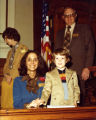 Cathey Steinberg with young constituent in the state capital, Atlanta, Georgia, 1978.