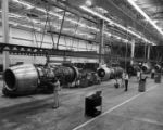 Final assembly line at Eastern Air Lines Jet Engine Overhaul Plant in Miami, 1964
