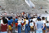 Volunteers, spectators, and participants at Eastern Air Lines-sponsored Decathlon Day for Anderson...