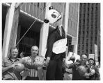 International Brotherhood of Electrical Workers picketers hang inflatable panda bearing the name...