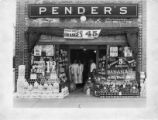 Storefront of a Pender Grocery store in Statesville, North Carolina, 1927.