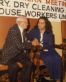 Coretta Scott King speaking with E. L. Abercrombie at a Laundry Workers Union Local 218 event,...
