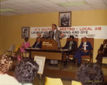 Man speaking at the 14th Southern Meeting of Laundry Workers Union Local 218, Atlanta, Georgia,...