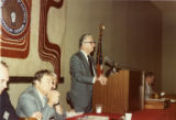 Claude Ramsay speaks at IBEW meeting, September 1983.
