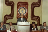Claude Ramsay speaking at IBEW meeting, 1983.