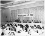 Speaker in convention hall at a Mississippi AFL-CIO convention, Jackson, Mississippi, 1965.
