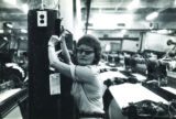 Woman working in a textile plant, Tennessee, circa late 1970s.