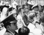 Claude Ramsay in crowd at ship launching, Pascagoula, Mississippi, 1977.
