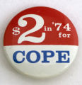$2 in '74 for COPE [button], 1974