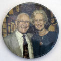 Button with photograph of Joseph Jacobs and his wife Temaly [button], circa 1990s