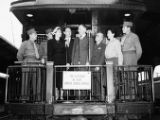 United Jewish Appeal members on the Caravan of Hope train, Atlanta, Georgia, April 13, 1949.