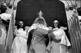 "St. Peter in a scene from the morality play ""Heaven Bound,"" staged by the Big Bethel..."